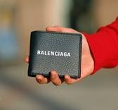 ■專櫃77折■ Balenciaga 全新真品485108 經典Eeveryday 粗體字母Logo小牛皮對摺短夾