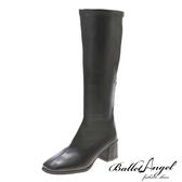 長靴 完美比例素面顯瘦中跟長靴(黑)*BalletAngel【18-L888bk】【現+預】