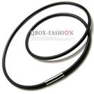 《 QBOX 》FASHION 飾品【L10018796】個性黑色光滑面真皮革鈦鋼插式項鍊子/黑皮繩