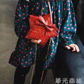 兒童包 兒童包包小女孩公主時尚春游斜背包可愛五角星配飾包蝴蝶結寶寶包 綠光森林