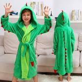 兒童浴袍 珊瑚絨睡袍寶寶浴袍法蘭絨卡通家居服恐龍睡衣