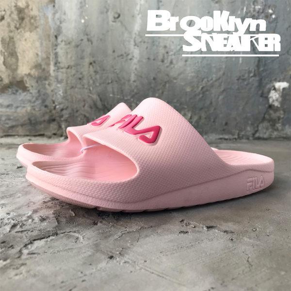 FILA (偏小建議大半號)粉紅 桃紅Logo 防水 拖鞋 (布魯克林)  4S355R555