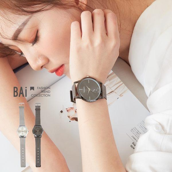 手錶 黑銀鏡面刻度假單眼金屬腕錶-BAi白媽媽【196182】