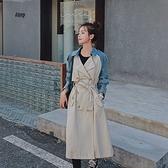 風衣大衣-長款牛仔布拼接雙排扣寬鬆女外套73yt16【巴黎精品】