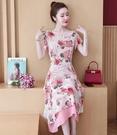 碎花洋裝 雪紡印花連身裙2021年夏季新款過膝長裙收腰顯瘦氣質高端典雅裙子 艾維朵