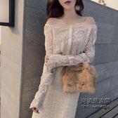 (交換禮物)鉤花蕾絲衫透視露肩長袖單排扣襯衫打底兩件套上衣女