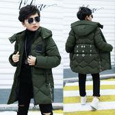 男童棉衣中長款童裝冬裝加厚外套新款大童羽絨棉服棉襖男10-16歲 美芭