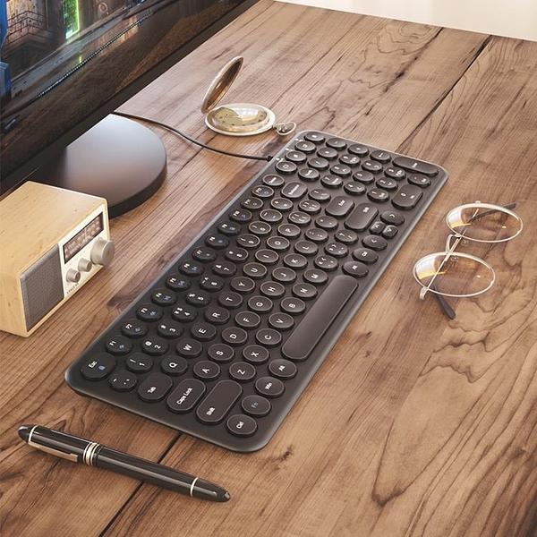 鍵盤 復古朋克圓點有線鍵盤家用筆電臺式機電腦辦公打字專用靜音usb外接女生可愛