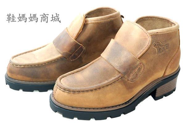 【鞋媽媽】[女]真皮棕色車蓋樵夫鞋*直接穿脫*US4.5號日規22.5號*ae183