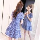 露肩洋裝 歐洲站格子連身裙夏韓版露肩短袖收腰顯瘦ins超火藍色大擺裙 交換禮物