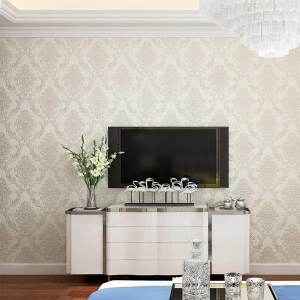 牆紙歐式3d立體浮雕加厚精壓大馬士革無紡布壁紙臥室客廳電視背景牆紙 喵小姐