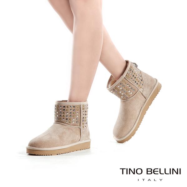 Tino Bellini個性視覺金屬鉚釦雪靴_杏  A69049