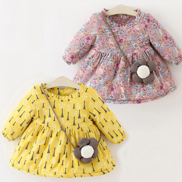 刷毛加厚印花荷葉領小洋裝 附花朵裝飾  橘魔法 童洋裝Baby magic 兒童 女童 小童 洋裝