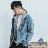 可拆式連帽寬鬆牛仔外套 【BD188】OBIYUAN 落肩排釦單寧夾克 共1色