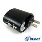 【鼎立資訊】ktnet KTPWU2110-530A1 旅行用USB 充電 插座 5V3A 2埠USB超大電流輸出轉AC 110V   黑/白  (廣)