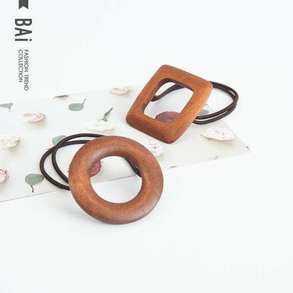 髮束 復古鏤空圓圈方形木質彈性雙條髮圈-BAi白媽媽【180506】