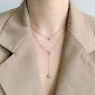 韓國時尚風格項鍊網紅ins雙層鈦鋼項鍊72652