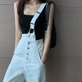 單肩牛仔背帶褲女韓版寬鬆休閑闊腿直筒褲【小酒窩服飾】