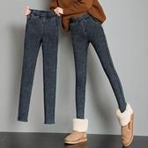 打底褲女外穿韓版緊身鉛筆仿牛仔小腳顯瘦黑色秋冬厚加絨 熊熊物語