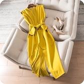 洋裝-無袖韓版時尚純色優雅開岔連身裙2色73sz19[時尚巴黎]