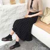 新款春季韓版chic復古高腰女半身裙夏中長款波點半身長裙春color shop