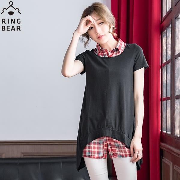 假兩件--修身格紋雪紡襯衫領造型下擺假兩件式短袖洋裝/長上衣(黑.紫XL-5L)-D338眼圈熊中大尺碼◎