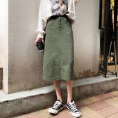 2019新款韓版chic軍綠色高腰半身裙女學生中長款 伊蒂斯女裝