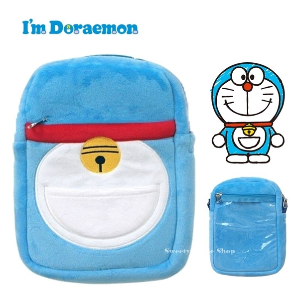 日本限定 哆啦a夢 I'm DORAEMON 百寶袋版 背帶 斜背袋 收納袋 手機觸控包
