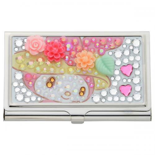 【震撼精品百貨】My Melody 美樂蒂~《Sanrio》美樂蒂40周年紀念萊茵石金屬名片盒(粉雕花朵)