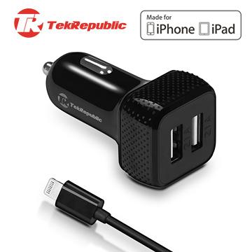 TekRepublic TCC-300 蘋果認證快速車充,內建Lightning 充電線+ USB 雙埠