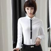 小三衣藏[YS-7035-PF]純色翻領搭小領帶OL秋冬長袖襯衫~