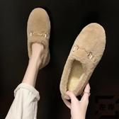 豆豆鞋女毛毛鞋秋冬季外穿懶人一腳蹬奶奶鞋【左岸男裝】