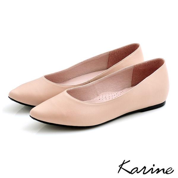 全真皮尖頭內增高楔型鞋-粉漾‧MIT台灣製‧karine