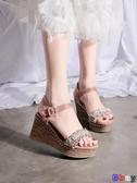【貝貝】楔型涼鞋 坡跟涼鞋 鬆糕 厚底鞋 一字帶 女鞋