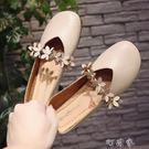 韓版復古奶奶鞋淺口百搭平底單鞋軟底女鞋平跟豆豆鞋 盯目家