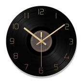 黑膠唱片掛鐘 客廳圓形創意時鐘表簡約現代個性大氣家庭靜音北歐石英鐘 rj2173『黑色妹妹』