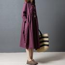春秋女裝新款大碼韓版文藝寬松顯瘦中長款純色長袖襯衫連衣裙