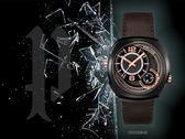 【時間道】POLICE造型雙時區腕錶 / 黑面黑殼深棕皮帶(15533JSB-61)免運費