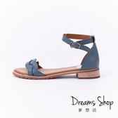 大尺碼女鞋 夢想店 MIT台灣製造氣質編織帶羅馬平底涼鞋1.5cm(41-45)【HMB2110】灰藍