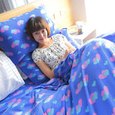 搖粒絨 / 雙人【超細搖粒絨】雙人床包兩用毯組 【心心相印-藍】 台灣製 赫雪黎寢具-超取限1件—