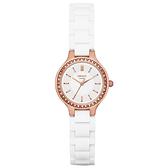 DKNY 低調巴黎簡約都會腕錶-玫瑰金x白