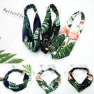 髮帶-夏季ins綠葉滿版拚色復古緞面交叉髮帶 髮箍【AN SHOP】