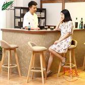 實木吧檯椅創意高椅歐式酒吧椅子木前jy檯復古吧凳簡約高腳凳子【無敵3C旗艦店】