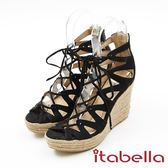 ★2017秋冬新品★kadia.羅馬風情 綁帶楔型鞋(7307-95黑)