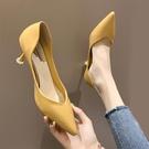 單鞋女2020新款夏季時尚尖頭淺口網紅少女高跟鞋女細跟百搭女鞋子