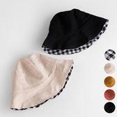 薄款雙面格子鬚邊漁夫帽 帽子 遮陽帽 盆帽 男童 女童 防曬 橘魔法 現貨 兒童 童帽