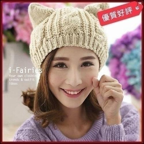 現貨+快速★貓耳朵毛線帽針織帽子保暖帽★ifairies【26419】