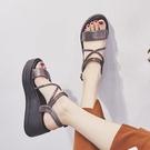 坡跟涼鞋 坡跟涼鞋女夏季新款厚底高跟鬆糕鞋韓版百搭露趾防水台羅馬鞋