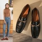 手工真皮女鞋34~40 2020新款法式優雅竹節紋牛皮馬銜扣方頭低跟樂福鞋~2色
