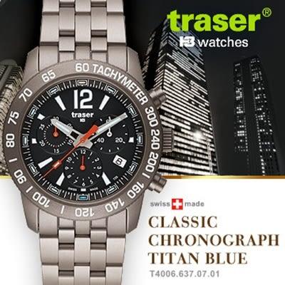 Traser Classic Chronograph Titan Blue經典計時錶鈦錶帶#100307#【AH03090】聖誕節交換禮物 99愛買生活百貨